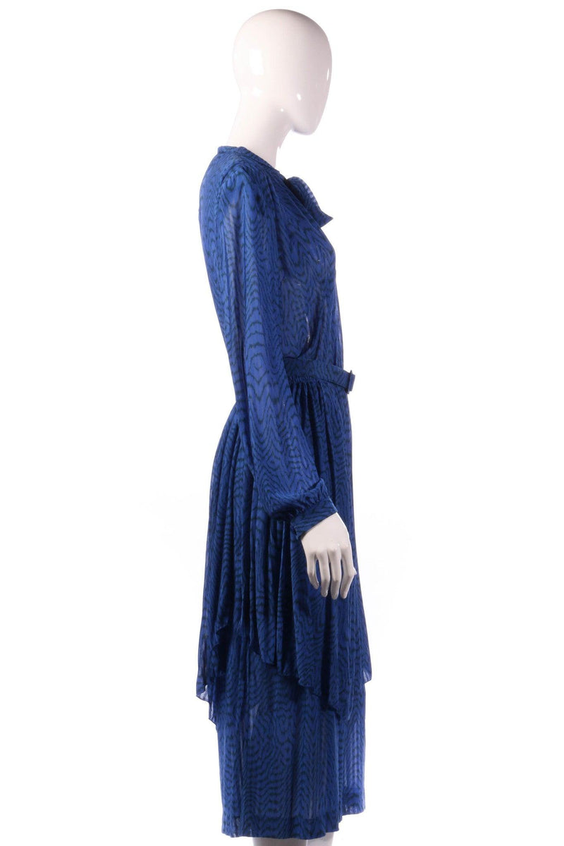 Tricosa blue dress with pleated layer side