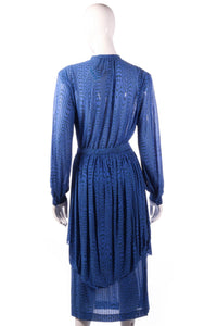 Tricosa blue dress with pleated layer back