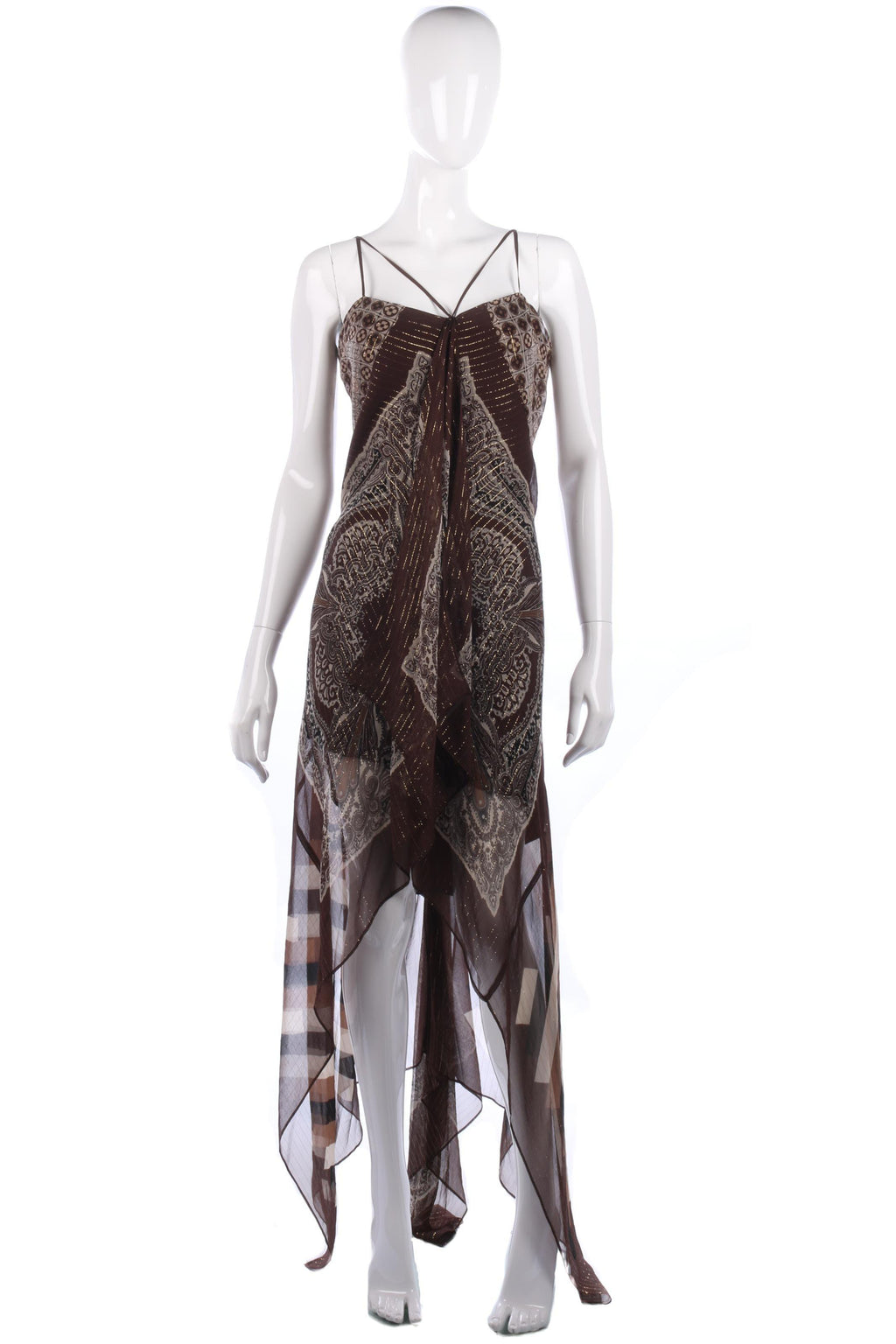 BCBG Maxazria Silk Dress Brown and Cream UK Size 10