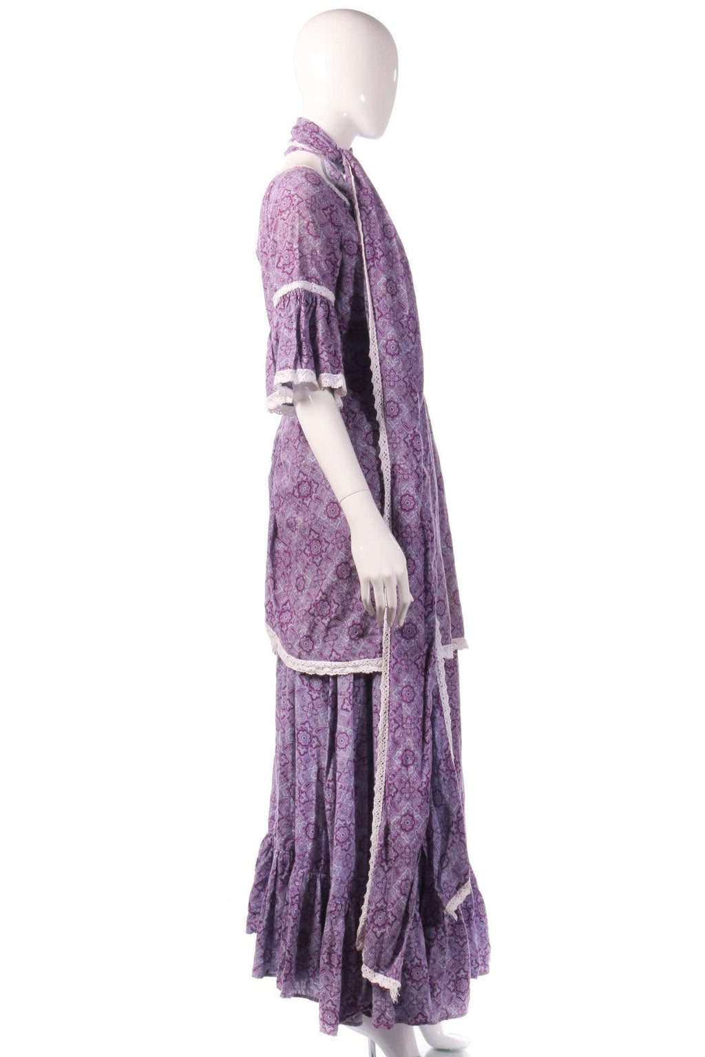 Vintage Laura Ashley purple dress with scarf  side