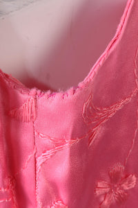 1960s pink embroidered mini dress size S
