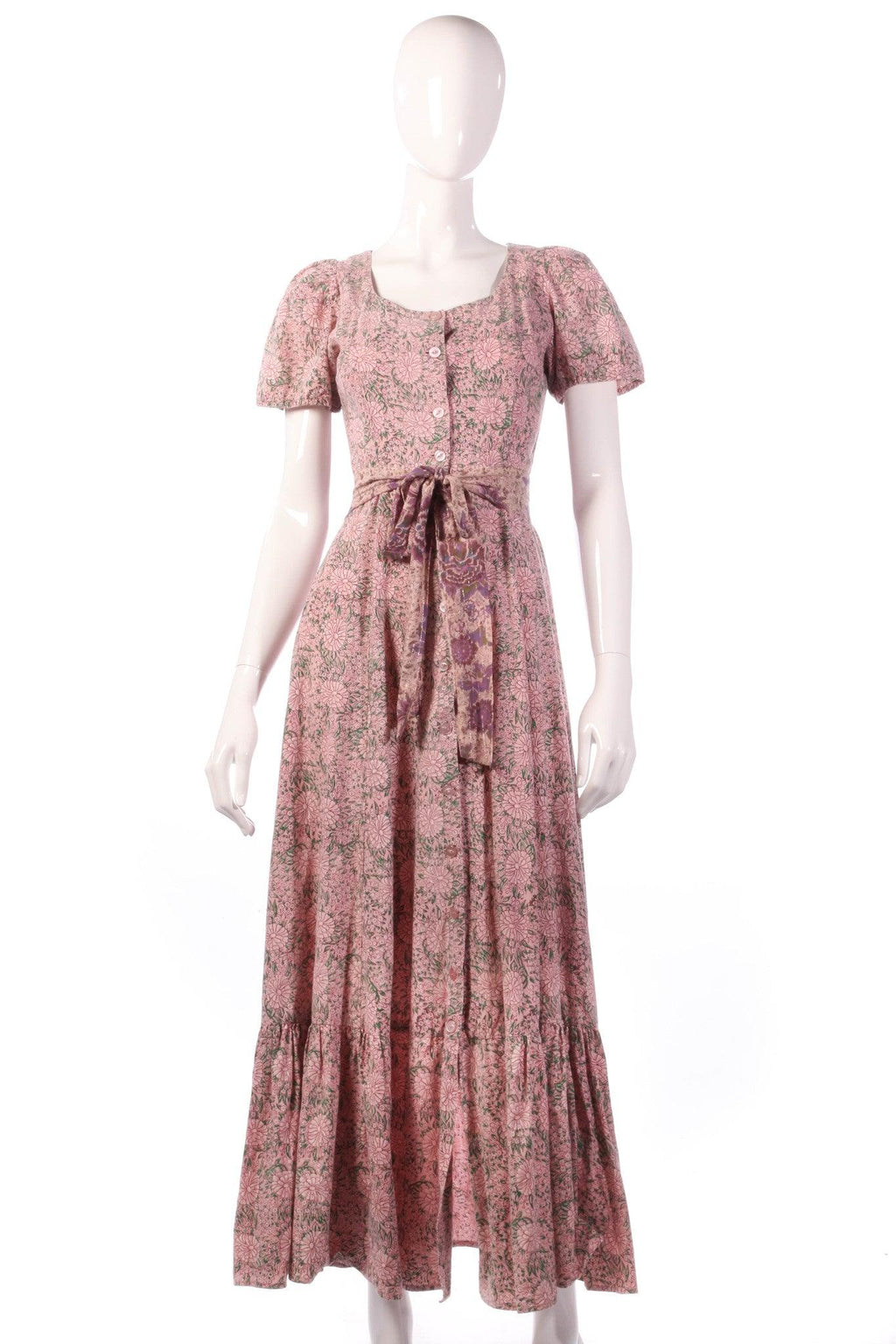 India Imports pink floral dress with tie belt