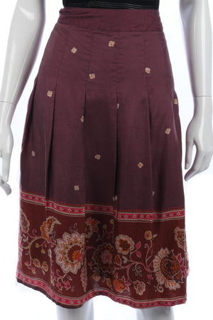 Jackpot Silk Skirt Purple with Flower Pattern Festival Size 14/16