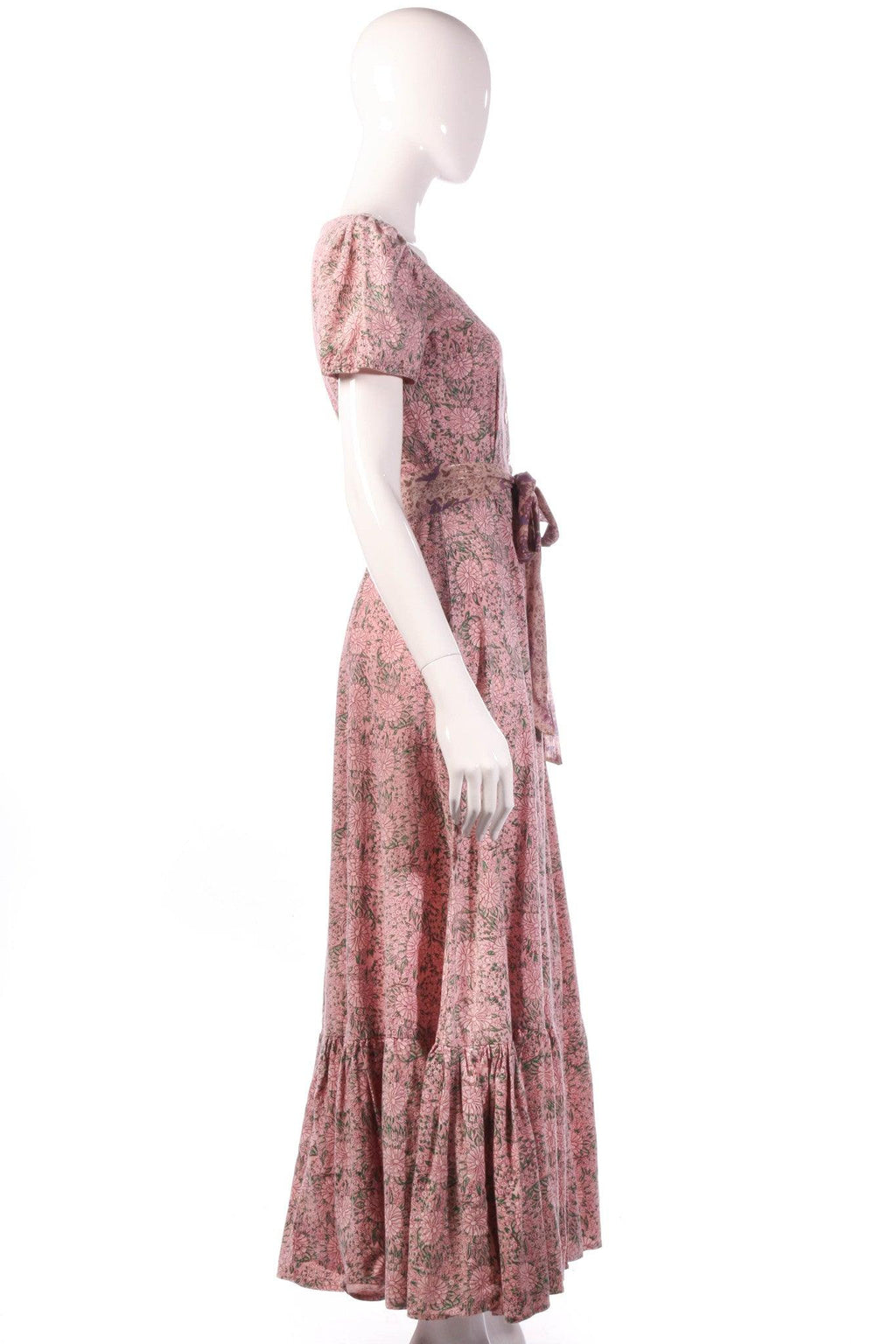 India Imports pink floral dress with tie belt  side
