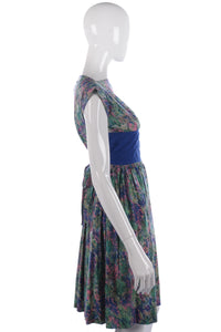 1950s vintage blue and green dress size S