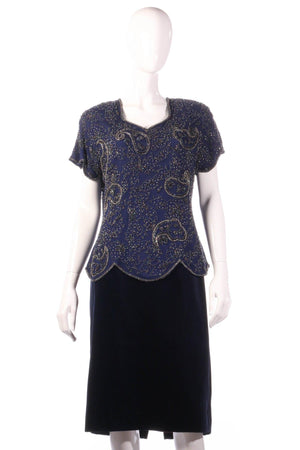 Serenade silk beaded top and velvet skirt size 16