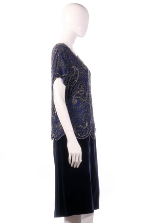 Serenade silk beaded top and velvet skirt size 16 side