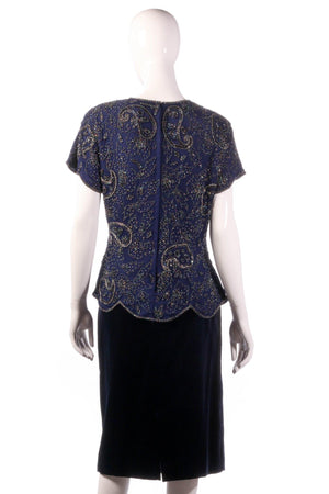 Serenade silk beaded top and velvet skirt size 16 back