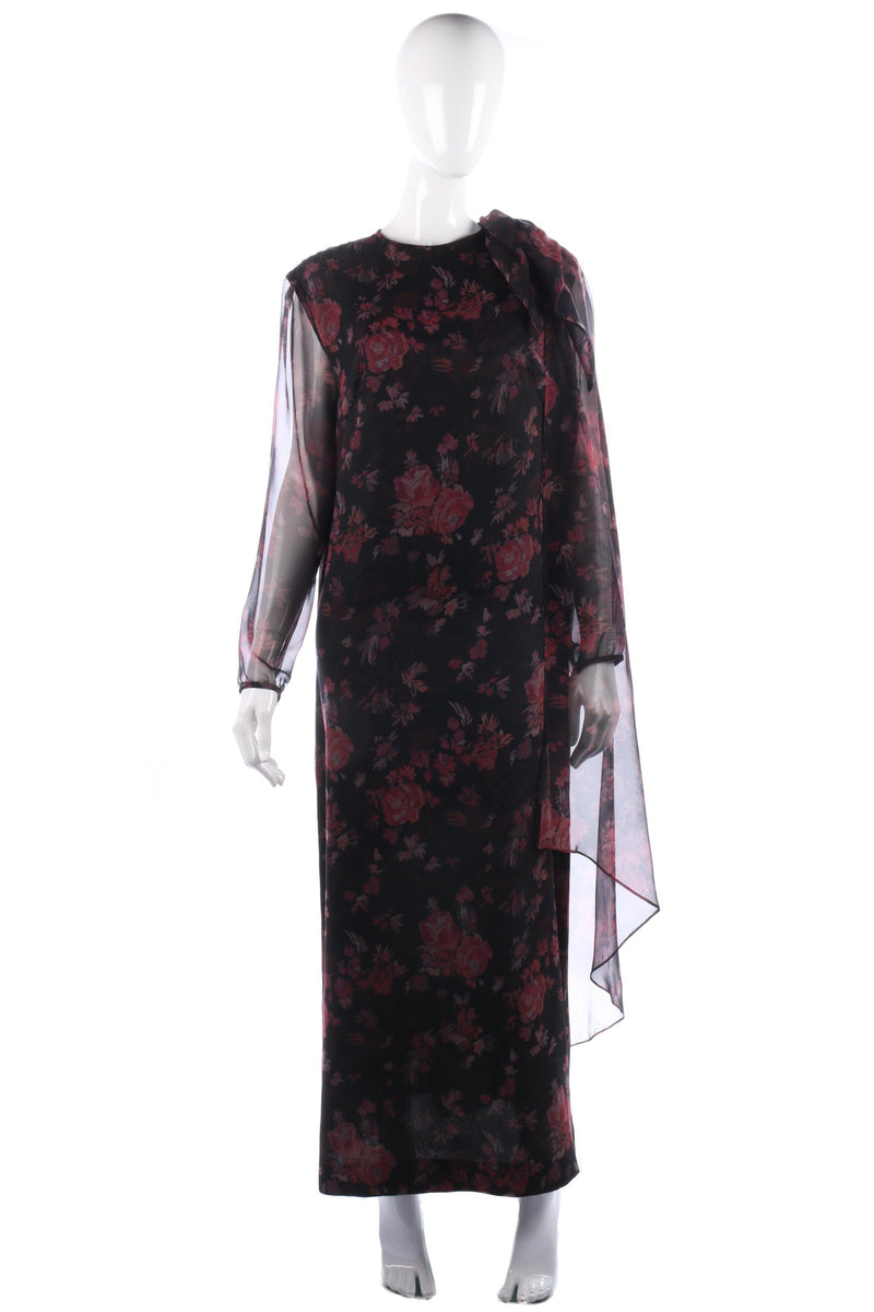Vintage Jean Allen 1970's black floral dress size M/L
