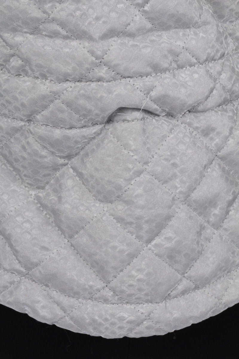 Belstaff Silver Quilted Jacket with Fur Collar Size 44