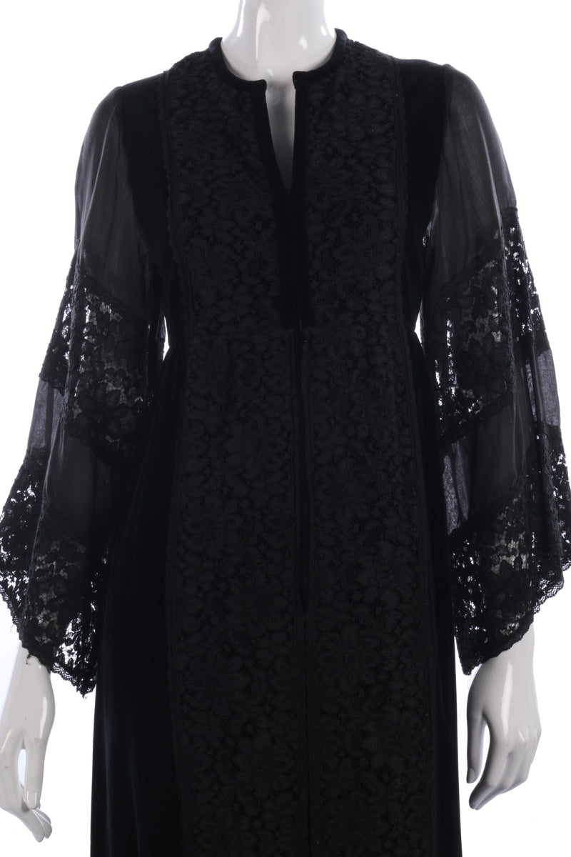 Vintage early 1970's gothic black velvet and lace dress by Angela Gore size 10