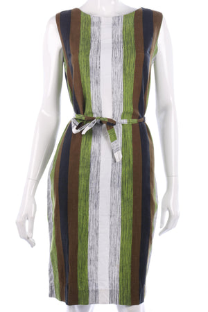 Keynote Vintage 1960's Shift Dress Cotton Green and Brown Est UK12