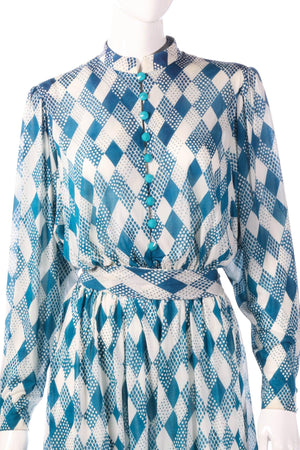 Tricosa light blue checked patterned dress detail