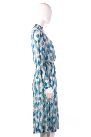 Tricosa light blue checked patterned dress side