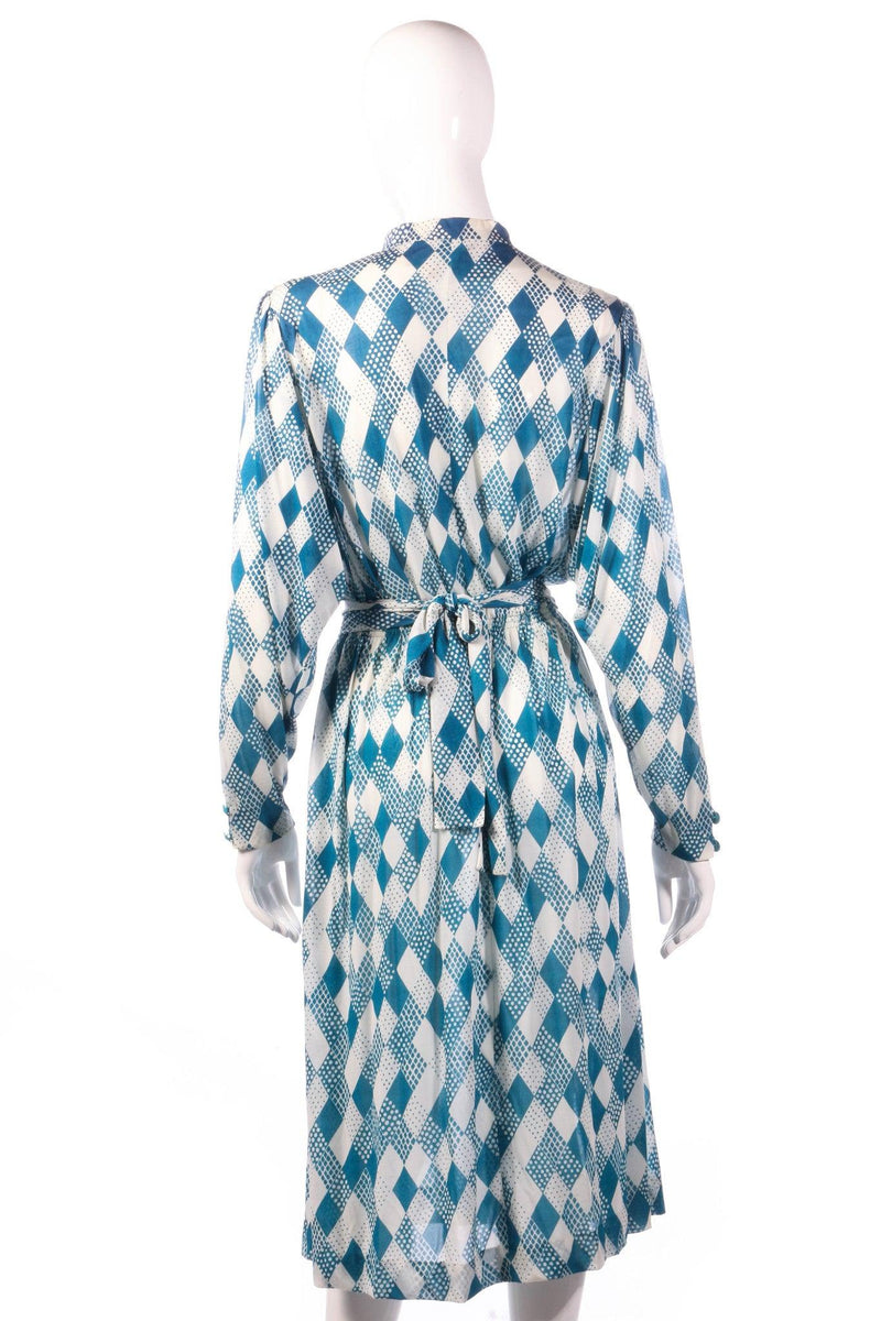 Tricosa light blue checked patterned dress back