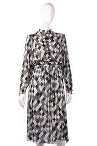 Tricosa dark blue checked patterned dress
