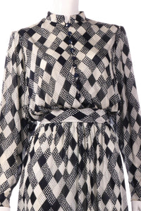 Tricosa dark blue checked patterned dress detail