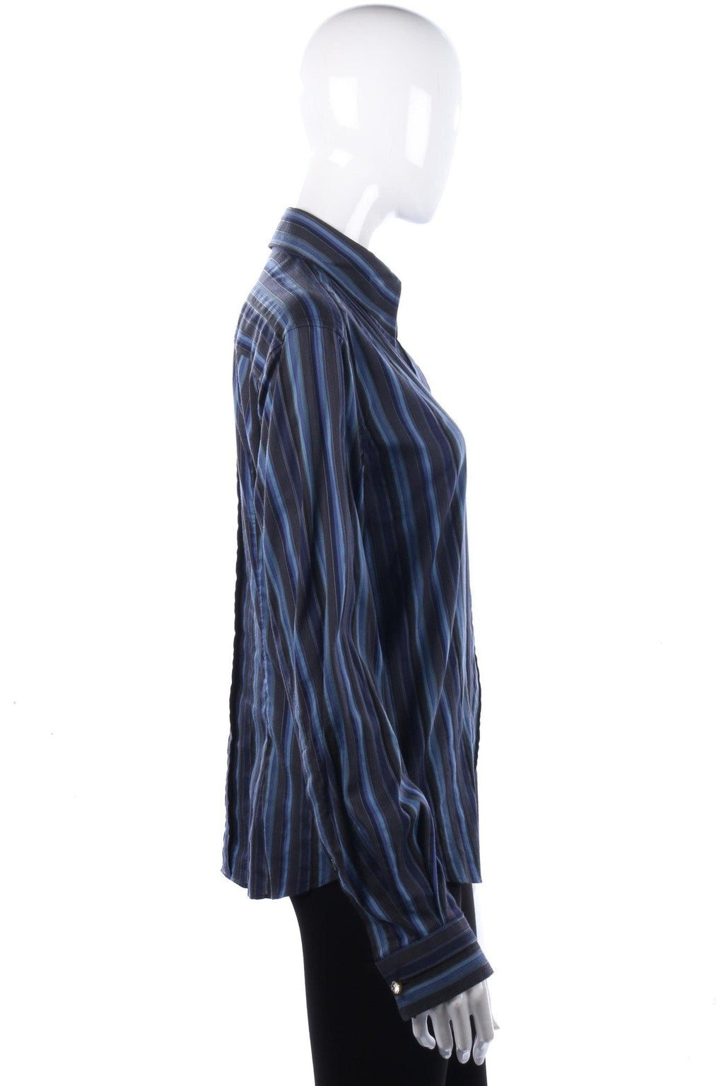 Dolce & Gabbana Cotton Blue and Grey Striped Ladies Shirt IT44 UK 12