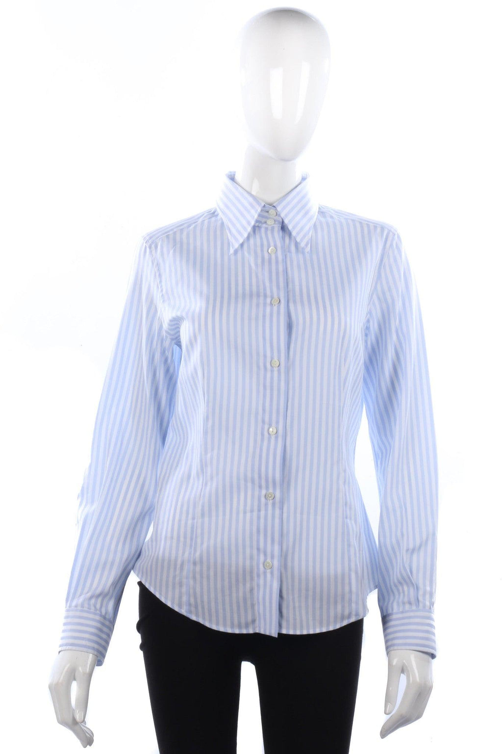 Dolce & Gabbana Cotton Ladies Shirt Blue and White Stripes IT44 UK12
