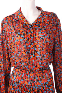 Tricosa orange and blue patterned dress detail