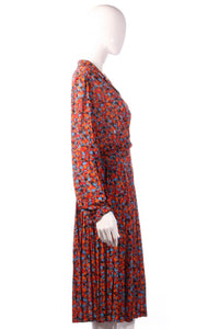 Tricosa orange and blue patterned dress side