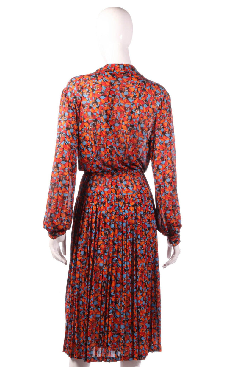 Tricosa orange and blue patterned dress back