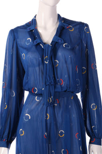 Tricosa Blue dress with circle patern  detail