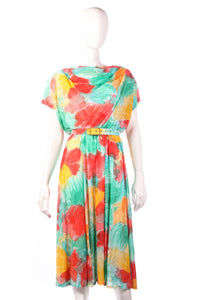 Tricosa green, yellow and red floral dress with open back size 16