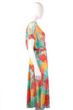 Tricosa green, yellow and red floral dress with open back size 16 side