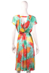Tricosa green, yellow and red floral dress with open back size 16 back