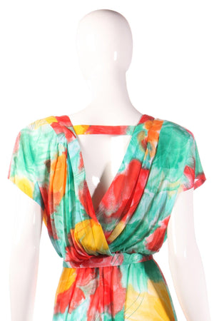 Tricosa green, yellow and red floral dress with open back size 16 detail