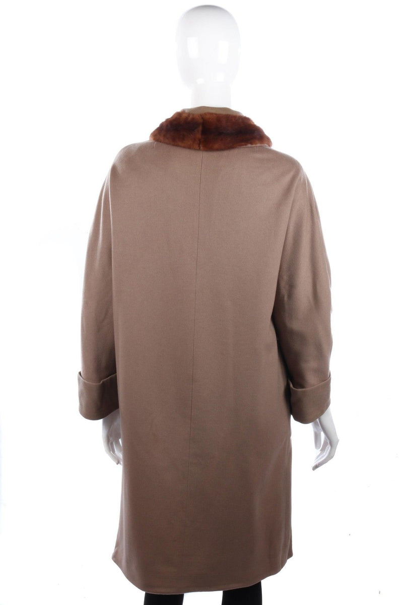 Crayson Vintage Coat Wool with Mink Collar  Camel Colour Size M