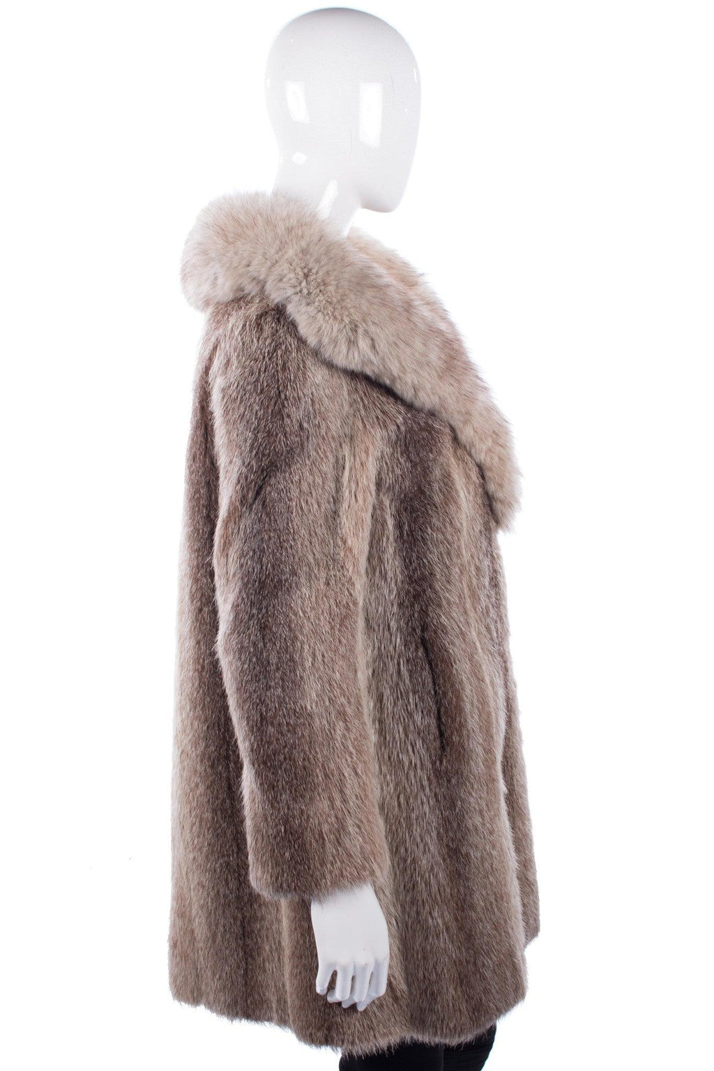 Vintage artic fox fur coat with full collar size M