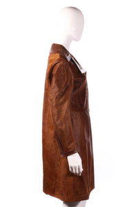 Leslie Lawrence brown faux fur jacket side