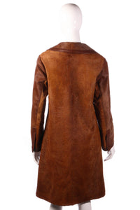 Leslie Lawrence brown faux fur jacket back