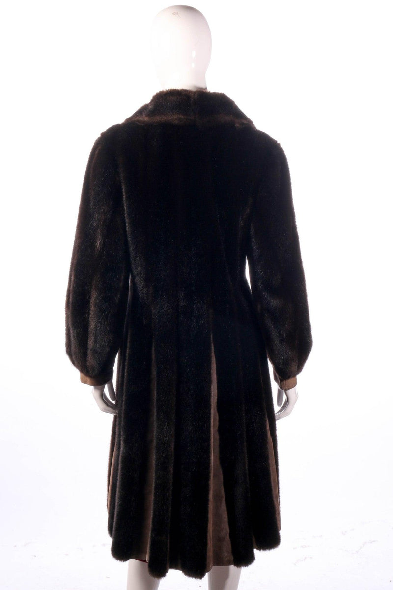 Fur and suede panelled coat back