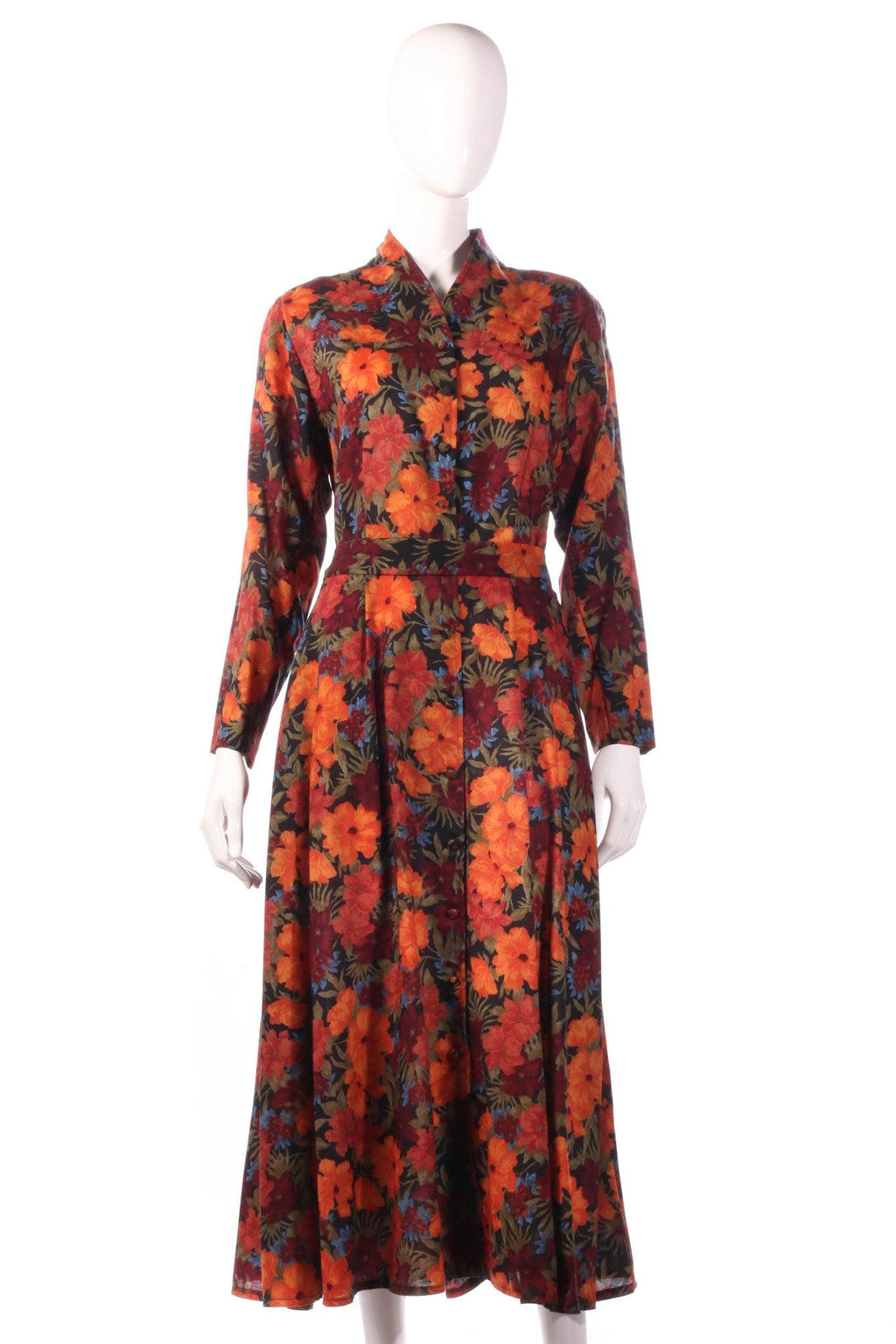 Liberty red dress with orange floral pattern