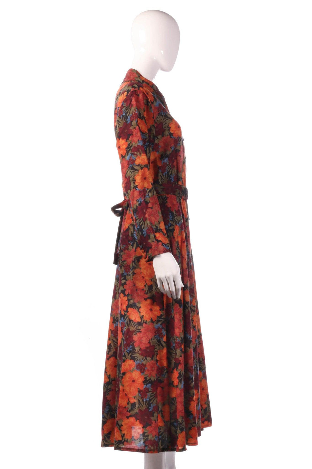 Liberty red dress with orange floral pattern side