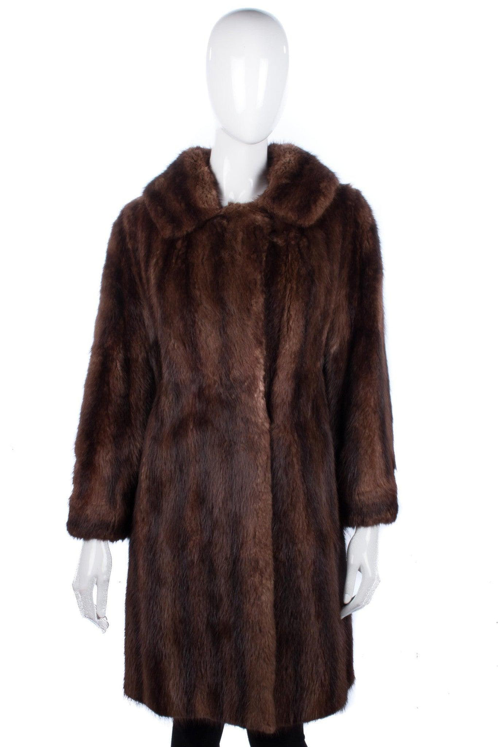 Leroy Furs Mink Fur Coat Mid Brown Size M