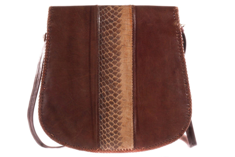 Brown leather handbag with tassel front  back