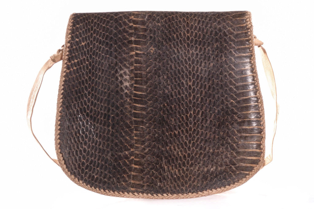 Dark brown snakeskin handbag with tassle