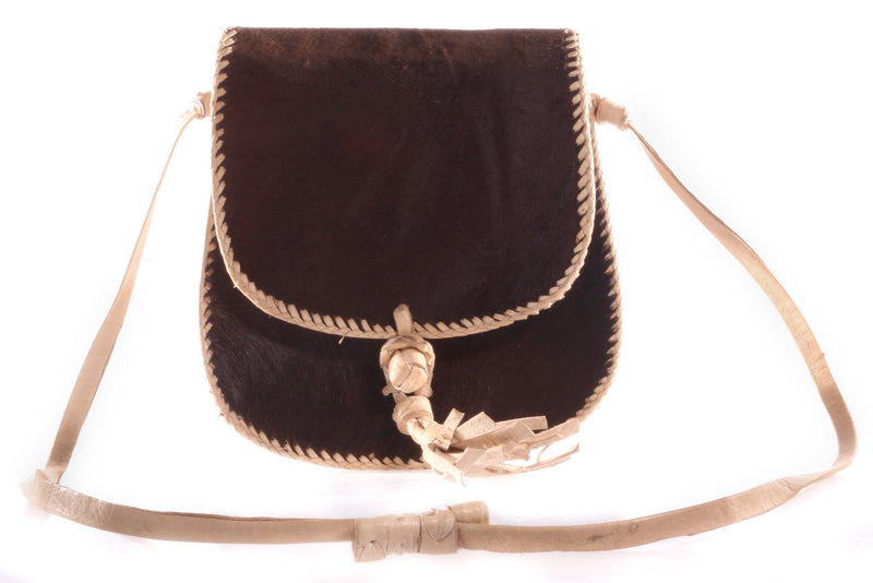 Small dark brown handbag with tassel