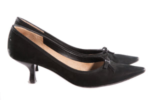 Black kitten heeled pointed shoes side