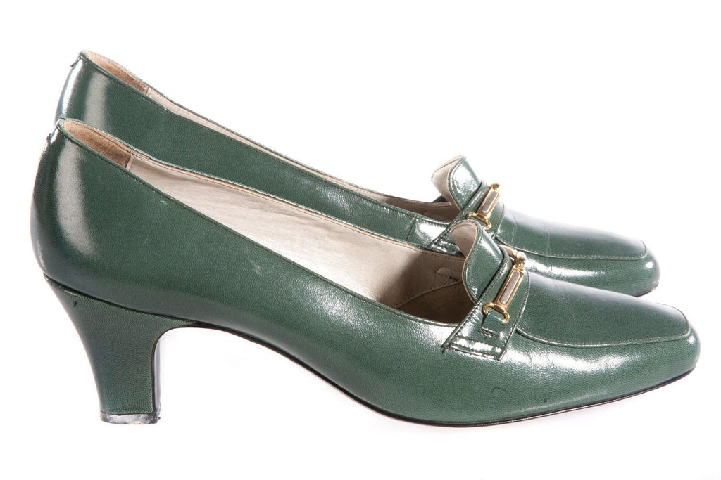 Holmes soft leather green shoes side