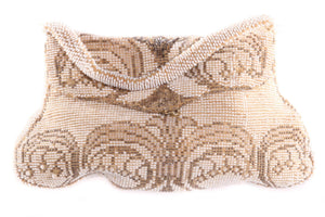 Vintage white beaded evening bag