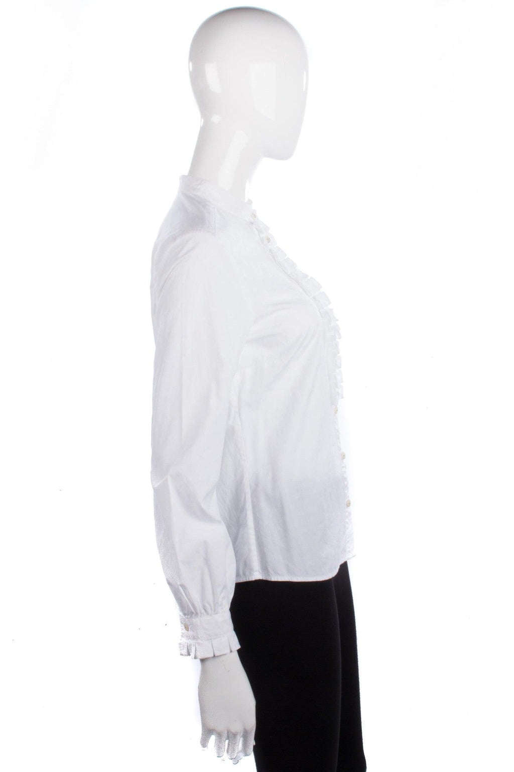 Jaeger Shirt Cotton White with Ruffle Detail Size 10