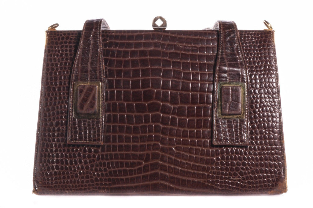 Brown vintage patent leather handbag crocodile effect