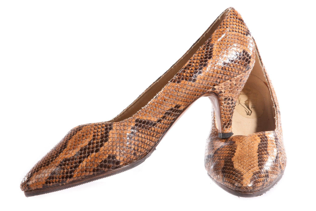 Brown snake skin shoes