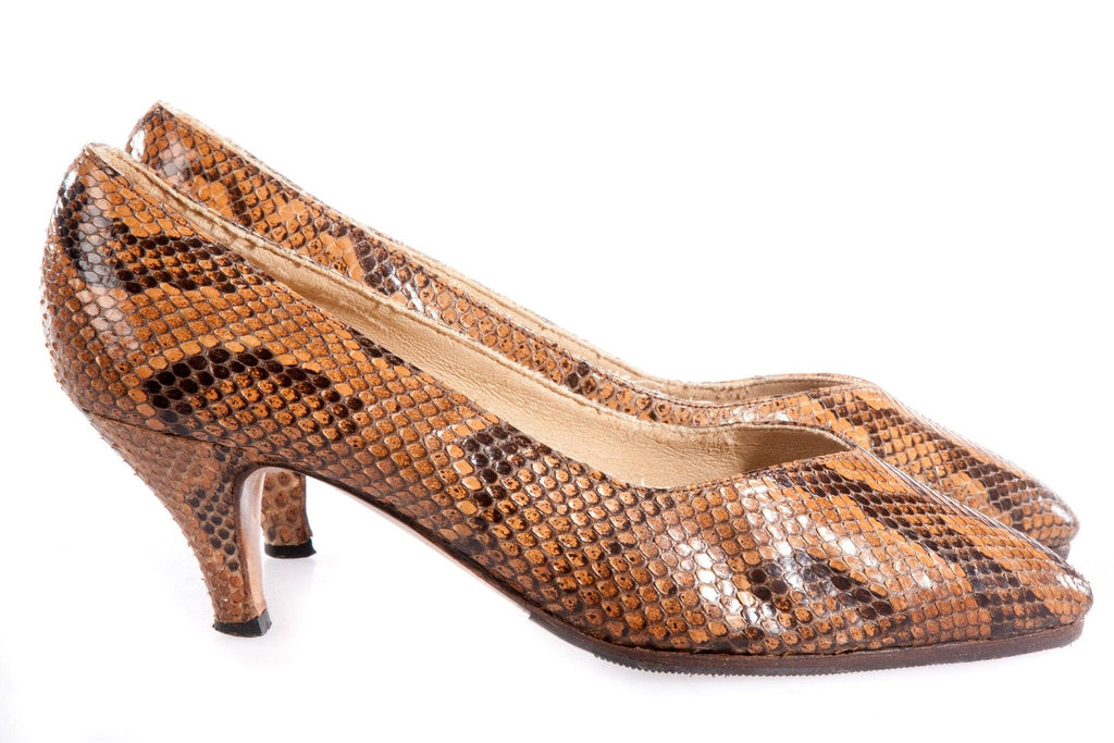 Brown snake skin shoes  side