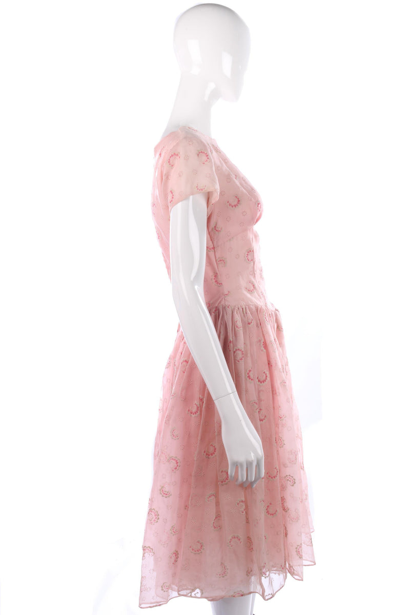 Stunning vintage 1950's pink summer dress size S